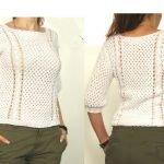 Вязанные белые свитера со схемами