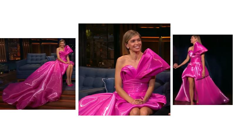 Вера Брежнева в розовом платье